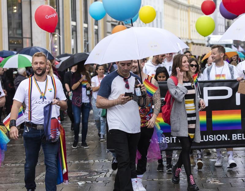 People attending the Gay Pride parade also known as Christopher Street Day CSD in Munich, Germany. 2019: People attending the Gay Pride parade also known as stock images