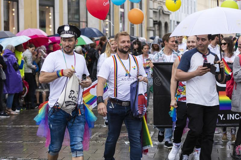People attending the Gay Pride parade also known as Christopher Street Day CSD in Munich, Germany. 2019: People attending the Gay Pride parade also known as royalty free stock photos