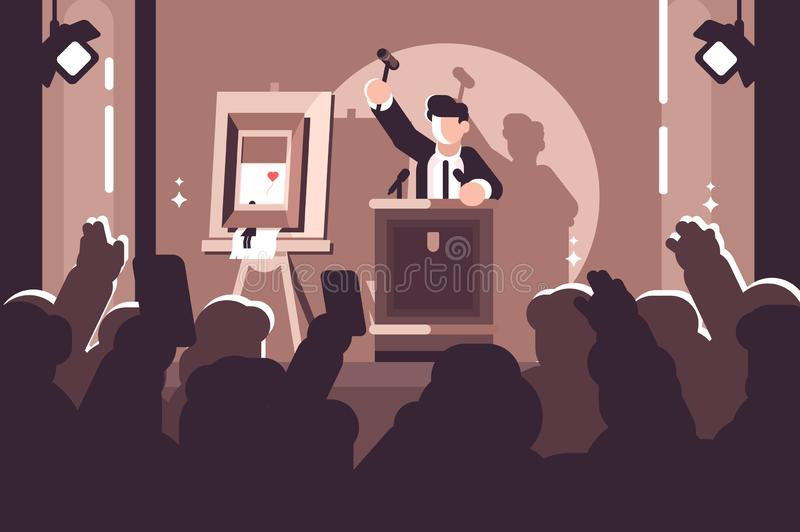 People at auction of art flat poster. Auction process with man holding gavel behind special stand near picture and human raised hands and bidding in front of vector illustration