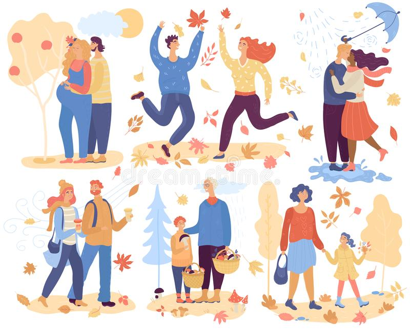 People in autumn park vector happy man woman and kid character walking in love picking leaves mushrooms outdoor royalty free stock images