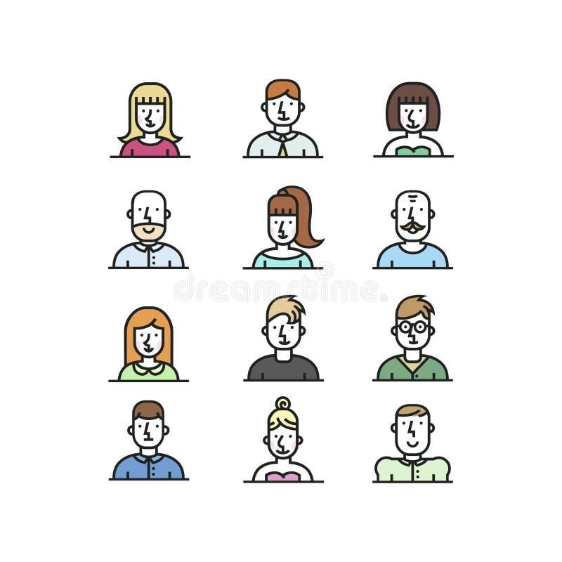 People avatar line style icons set on white background. royalty free stock photography