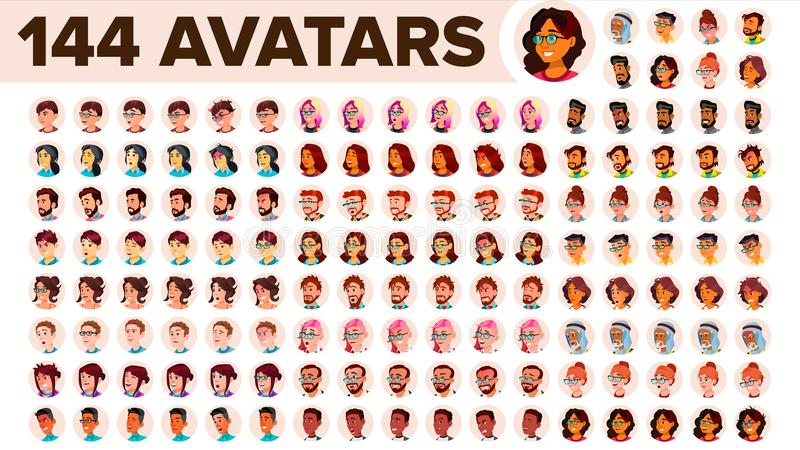 People Avatar Set Vector. Man, Woman. Default Placeholder. Colored Member. User Person. Expressive Picture. Round. People Avatar Set Vector. Man, Woman. Circle royalty free illustration