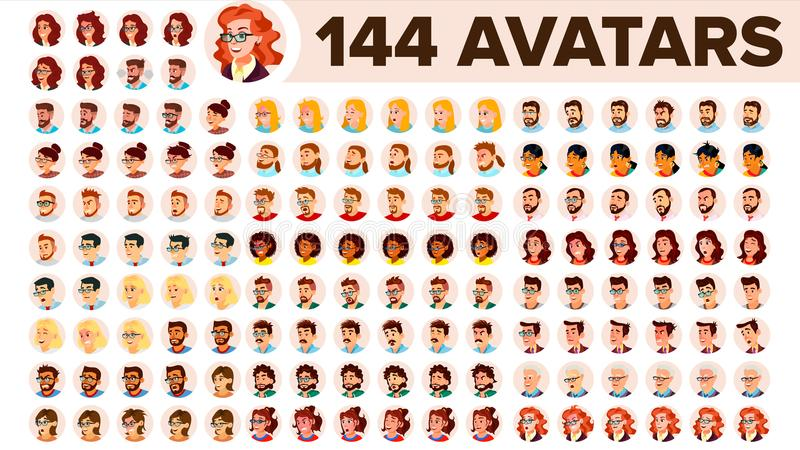 People Avatar Set Vector. Man, Woman. Default Placeholder. Colored Member. User Person. Expressive Picture. Round. People Avatar Set Vector. Man, Woman. Human vector illustration
