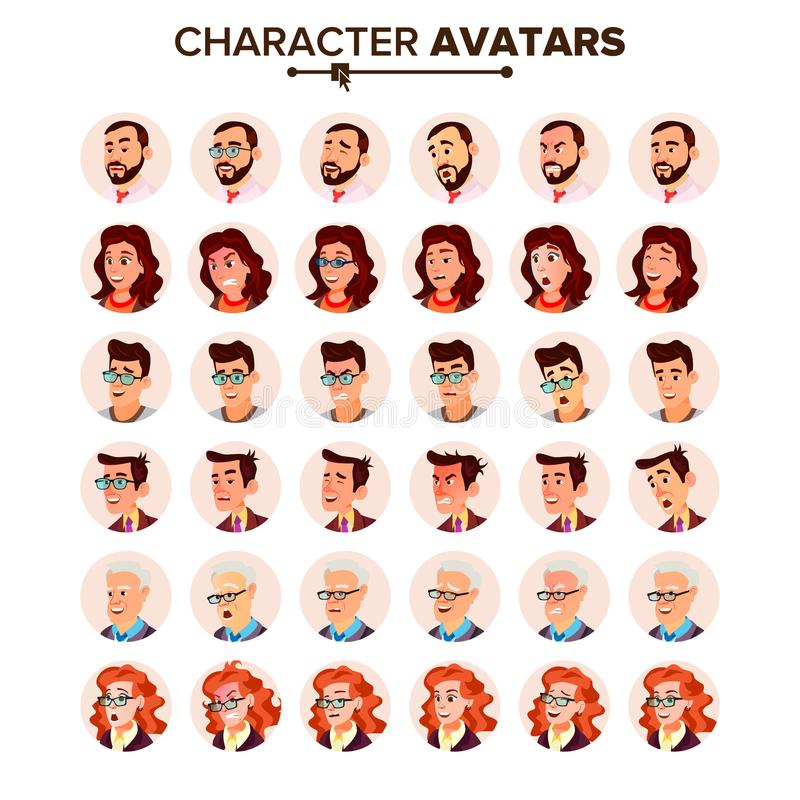 People Avatar Set Vector. Man, Woman. User Portrait. Office Worker. Beautiful Male, Female. Modern Employer. Default. People Avatar Set Vector. Man, Woman. User vector illustration
