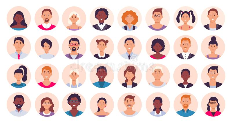 People avatar. Smiling human circle portrait, female and male person round avatars flat icon vector illustration. People avatar. Smiling human circle portrait royalty free illustration