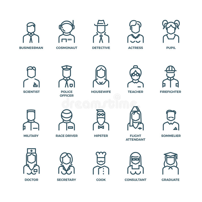 People avatars, characters staff, professions. Vector linear icons royalty free illustration