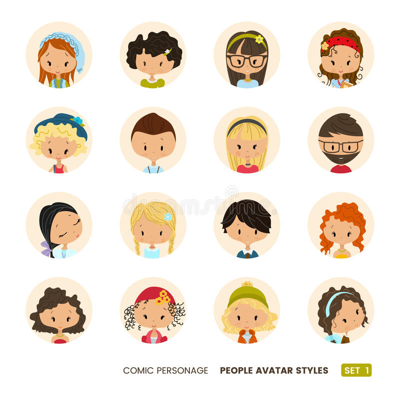 People avatars collection. Set of Hipster avatar icons. Comic personages. People avatars collection. Set of avatar icons. Comic personages. Hipster icons stock illustration