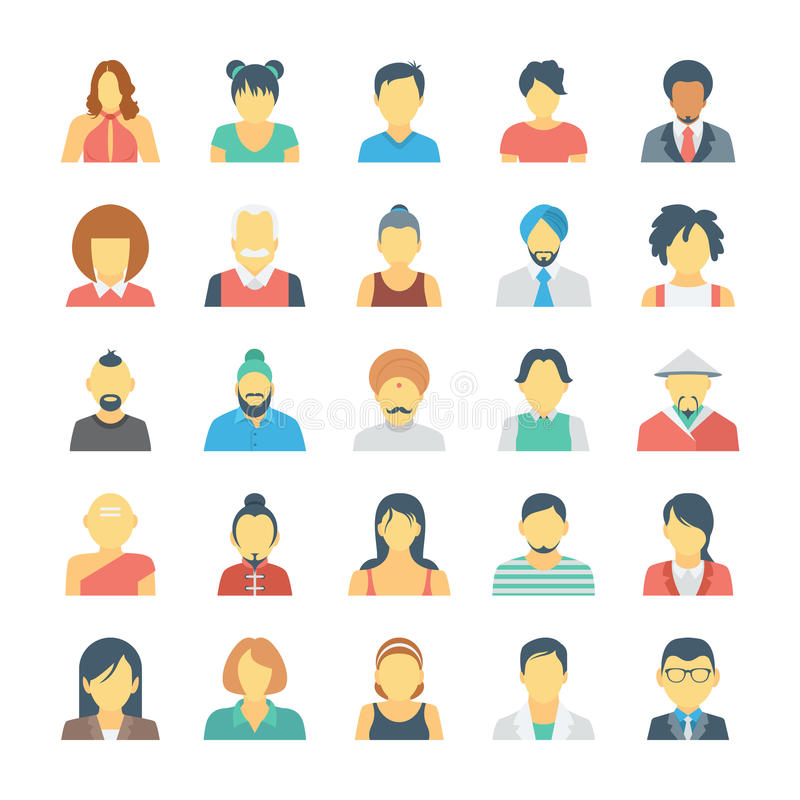 Free People Avatars Colored Vector Icons 3 Stock Photos - 77651923