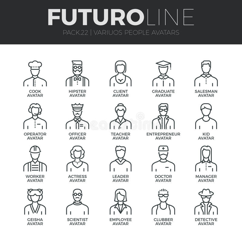 People Avatars Futuro Line Icons Set stock illustration