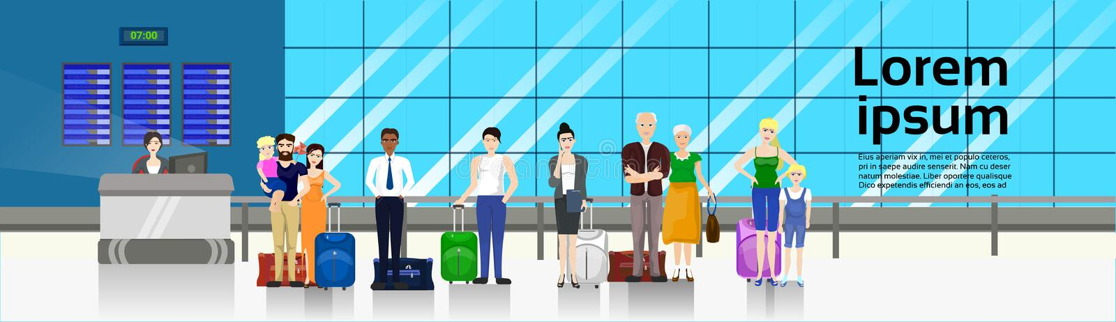 People with Baggage Standing In Line To Counter In Airport For Check In Horizontal Banner. Flat Vector Illustration royalty free illustration