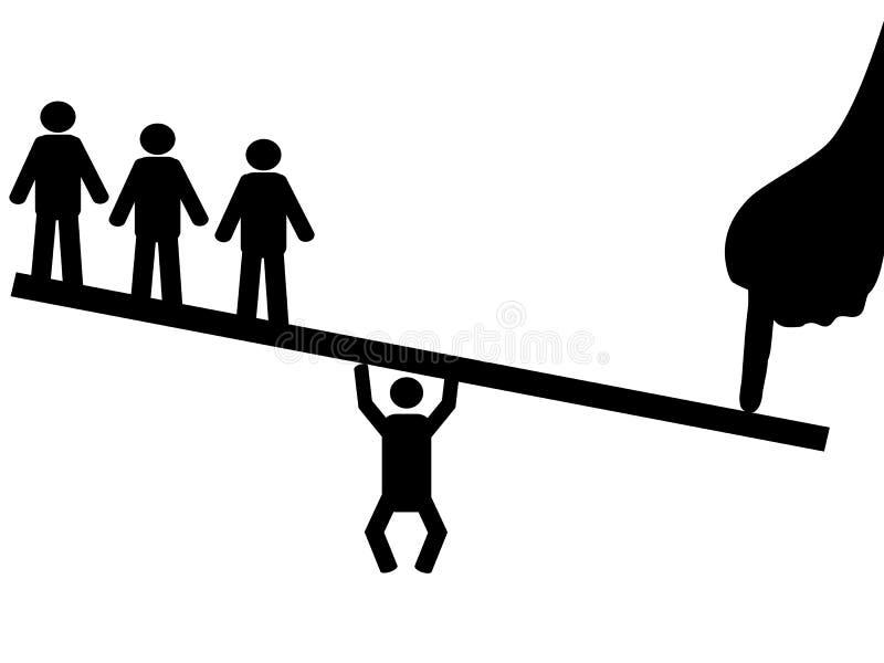 People balance on seesaw stock illustration