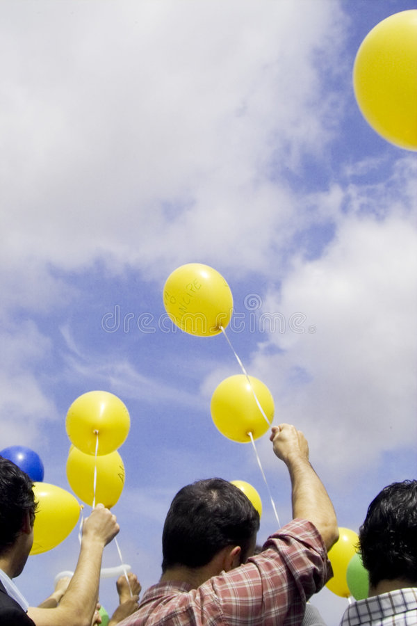 People and balloons royalty free stock photography