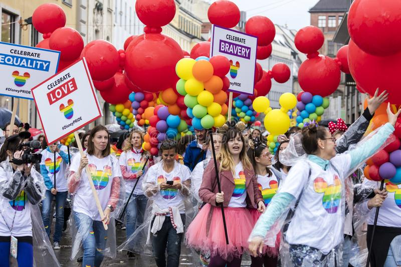 People with balloons  attending the Gay Pride parade also known as Christopher Street Day CSD in Munich, Germany. 2019:  People with balloons  attending the Gay royalty free stock images