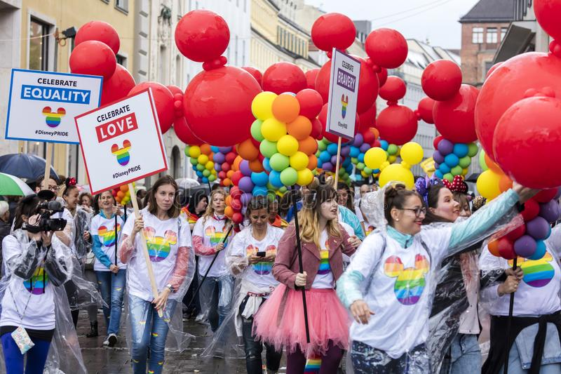 People with balloons  attending the Gay Pride parade also known as Christopher Street Day CSD in Munich, Germany. 2019:  People with balloons  attending the Gay stock image