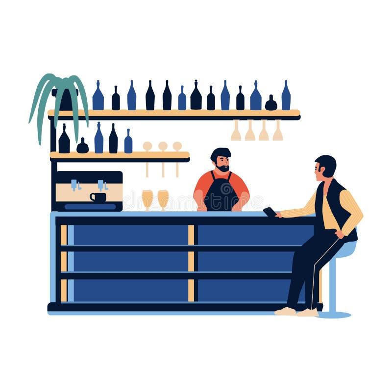 People In The Bar Cafe. Barista Barman Making Drink At Bar ...