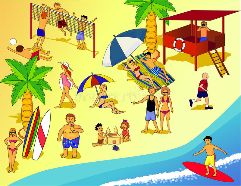 Download People at beach stock vector. Image of illustration, cartoon - 18888416