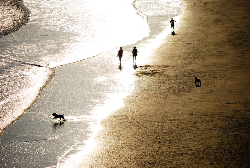 People on the beach. At sundown in Wales royalty free stock photo