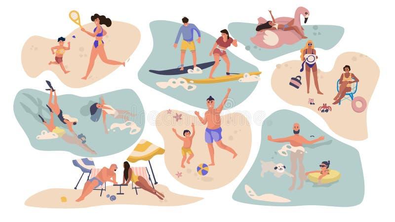 People beach activities. Cartoon characters on summer vacation, surfing swimming sunbathing outdoor scenes stock illustration
