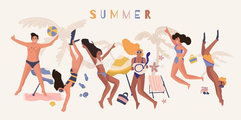 People beach banner. Happy friend on summer vacation cartoon poster, diverse young people on beach party. Vector poster vector illustration