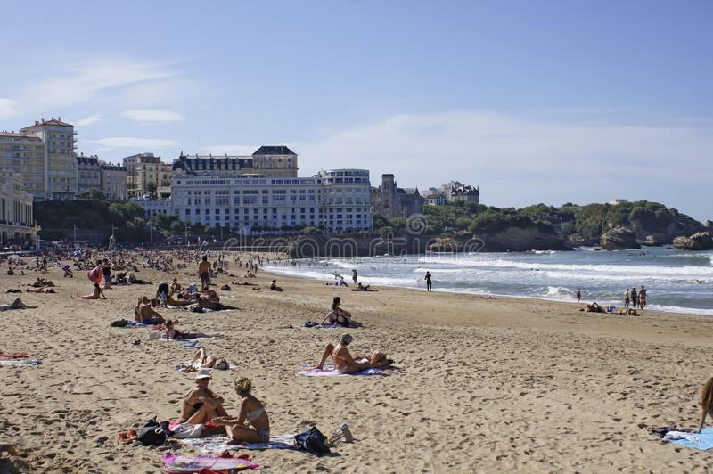 Biarritz beach France Europe 2019. People at the Beach in Biarritz, France - October 13, 2019 royalty free stock photo