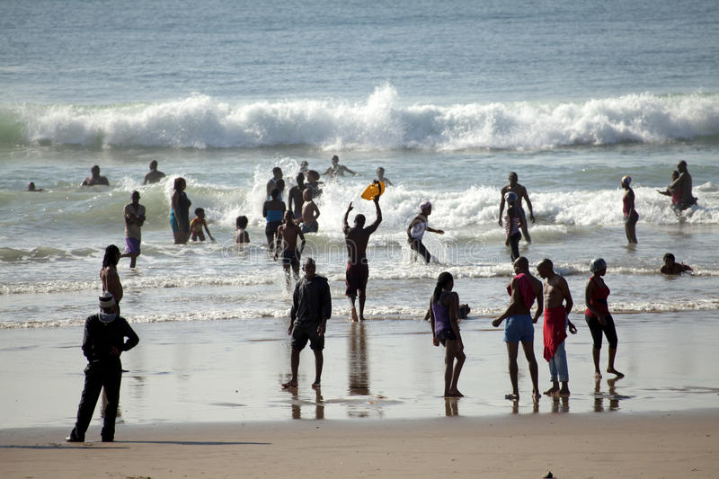 People on the beach, Durban. People on the beach in Durban royalty free stock photo