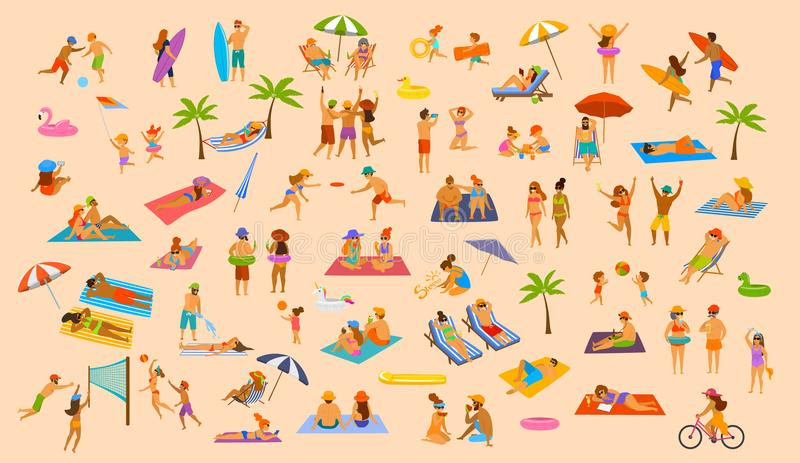 People on the beach fun graphic collection. man woman, couples kids, young and old enjoy summer vacation. Relax, chill have fun, surfing, play dance lying on royalty free illustration