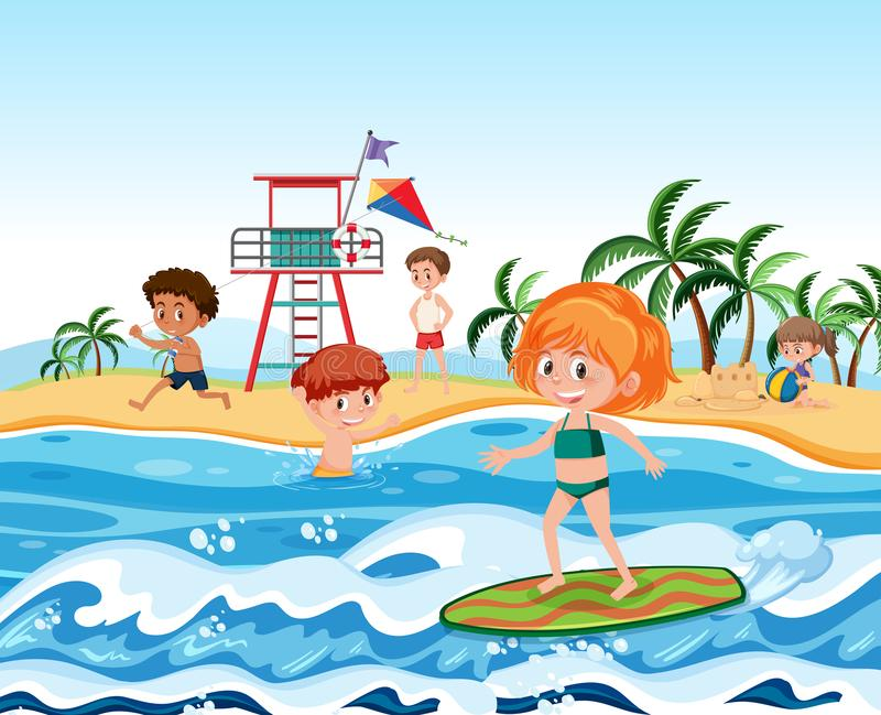 People at the beach vector illustration