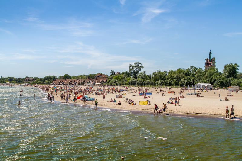 People on the beach, Sopot stock photography
