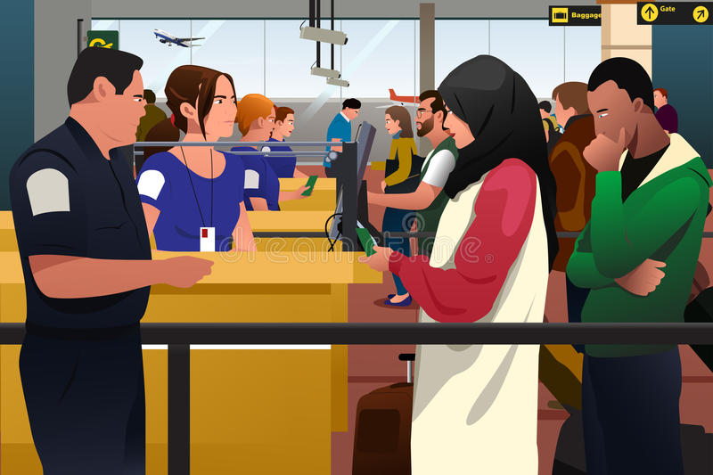 People Being Checked Immigration Line in the Airport vector illustration