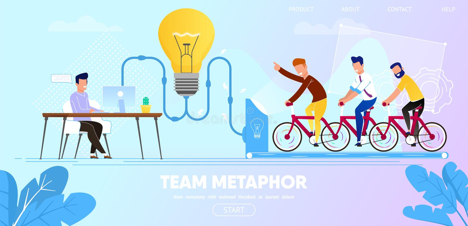 People on Bicycle Generating Power for Large Bulb. Team Metaphor. Business People Sitting on Bicycle Generating Electric Power for Large Bulb. Idea Generation royalty free illustration