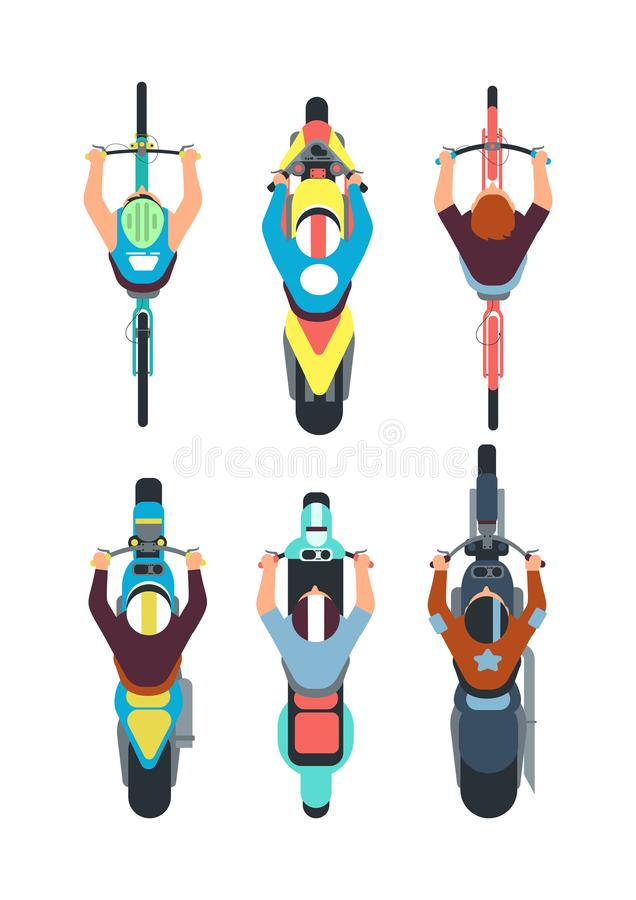 People on bike top view. Persons ride motorcycle, scooter and bicycle in overhead view. Vector set vector illustration