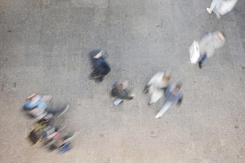 People blurred from above stock image