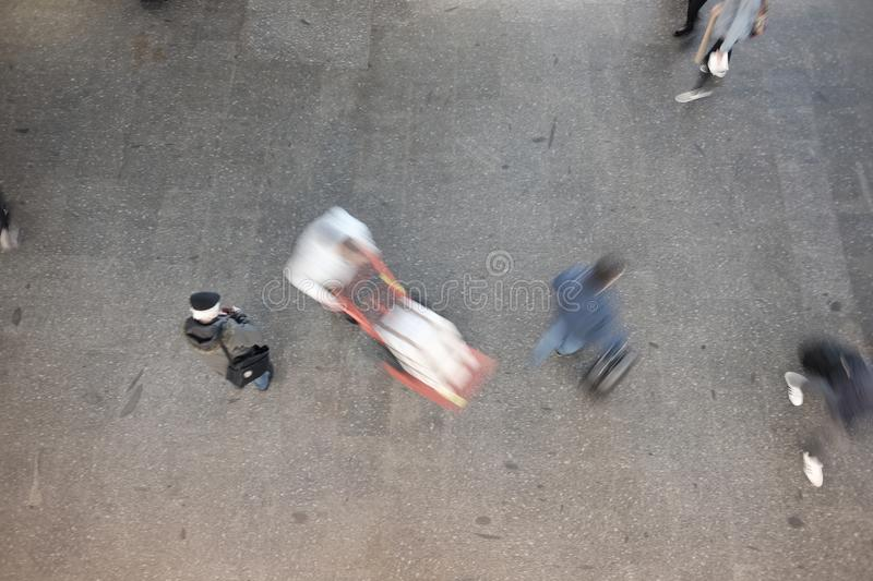 People blurred from above stock photos