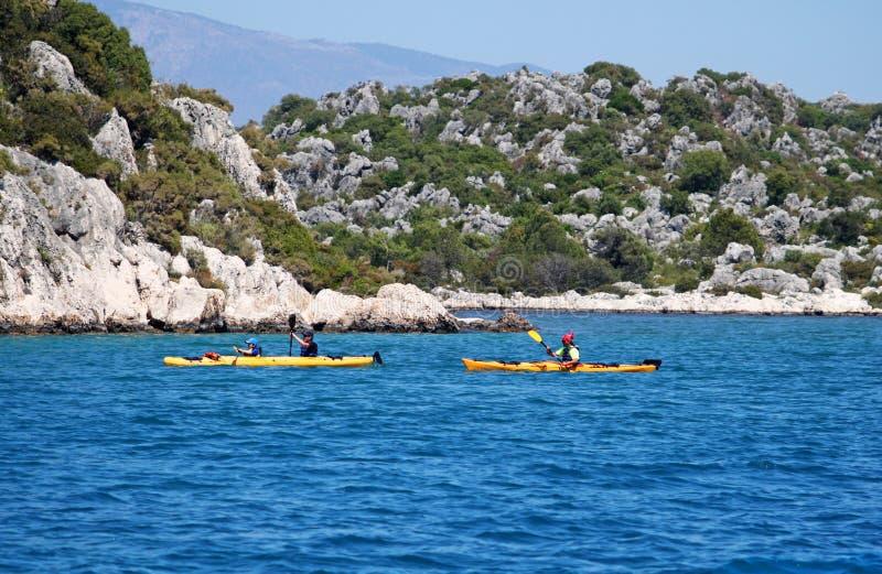 People boating in the sea, near island Kekova royalty free stock photo