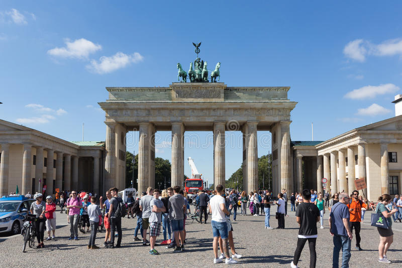 People at Brandenburger Tor in Berlin, Germany royalty free stock photography