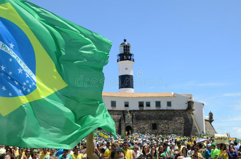 People from Brazil. Brazilian people making manifest against corruption using the national flag stock image