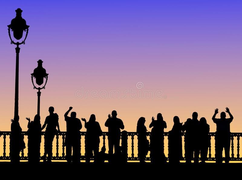 People On Bridge Stock Photo