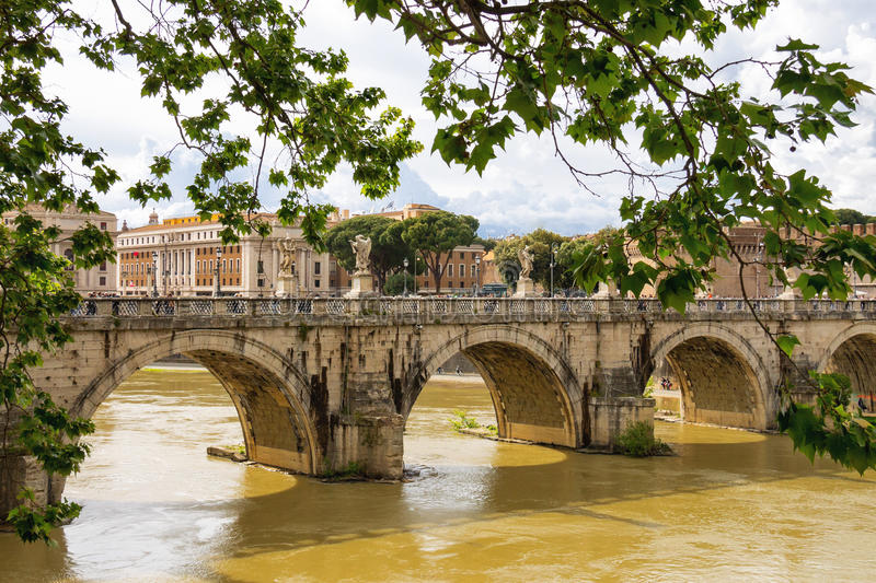 People on the bridge of Castel Sant'Angelo in Rome, Italy royalty free stock images