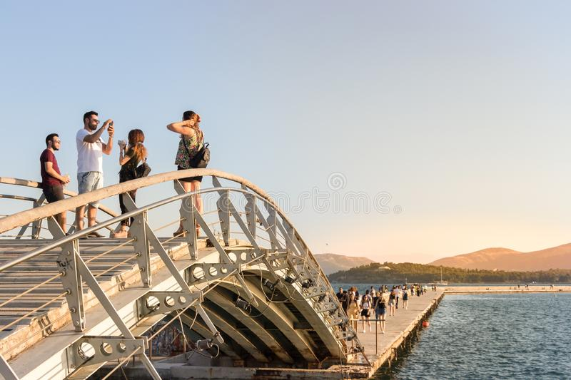People on a bridge of the Port of Volos. stock photos