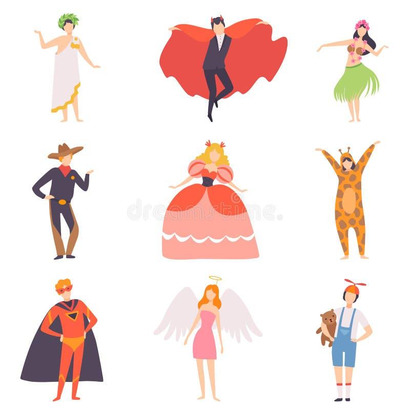 People in Bright Festival Costumes Set, Vampire, Hawaiian Girl, Cowboy, Princess, Tiger, Superhero, Angel, Masquerade royalty free illustration