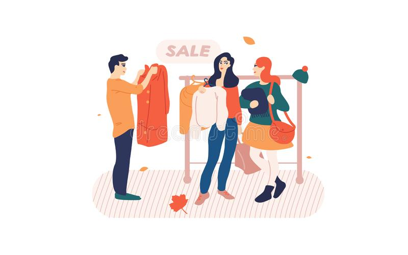People browsing clothes on a rack in store. vector illustration