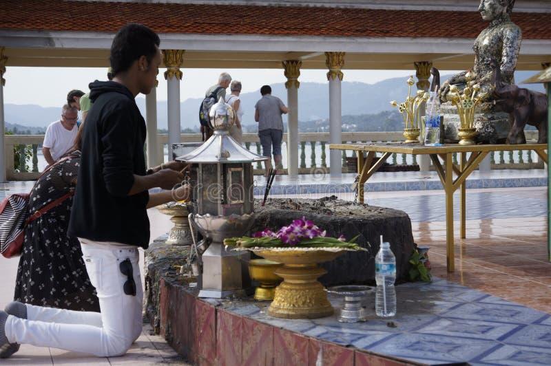 People in Buddhist temple. Wat Laem Suvannaram royalty free stock photos