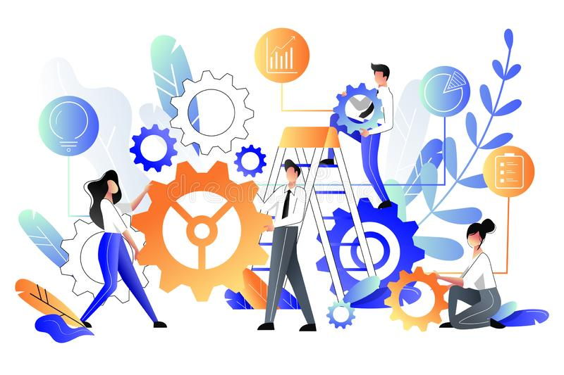 People build construction from gear cogs, business metaphor. Vector illustration. Teamwork and partnership concept. Young people build abstract construction from vector illustration