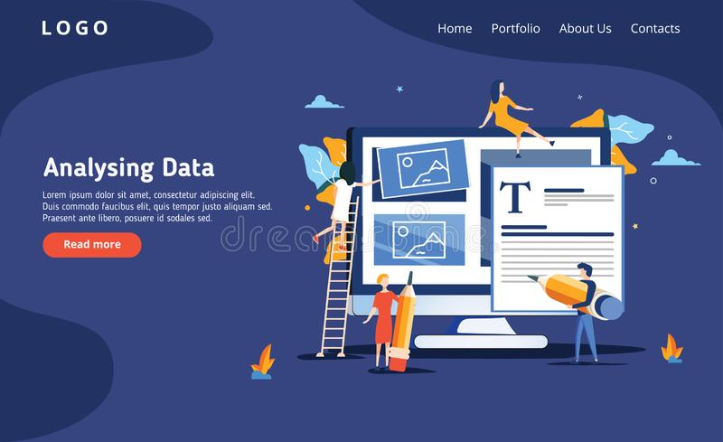 People build a dashboard and interact with graphs on the dark blue backgroung. Data analysis, and office situations stock illustration