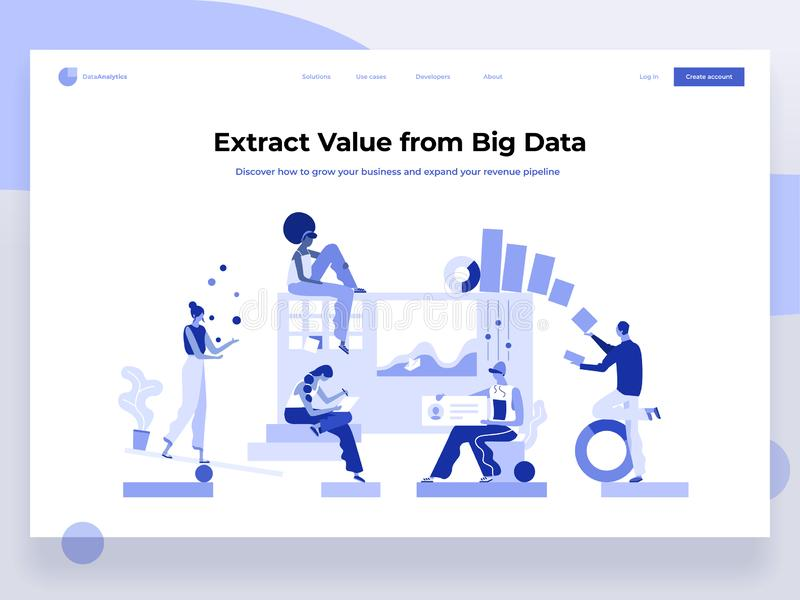 People build a dashboard and interact with graphs. Data analysis, and office situations. Landing page template. Flat vector illustration