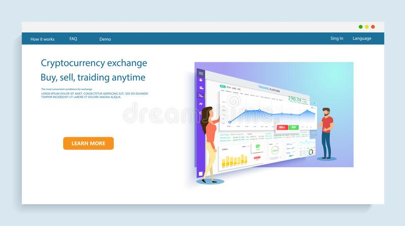 People build a dashboard and interact with graphs. stock illustration
