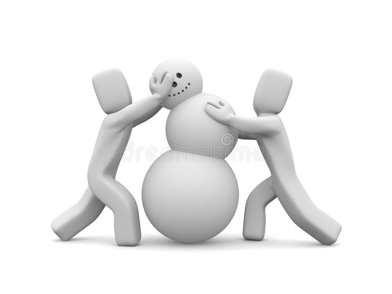 People Build Snowman. Image Contain Clipping Path Royalty Free Stock Photos