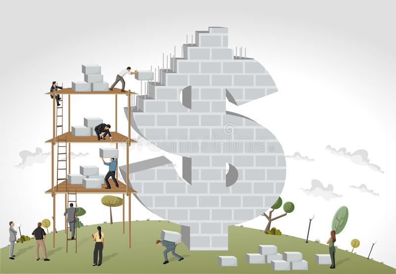 People building a money symbol stock vector illustration for Free money to build a house