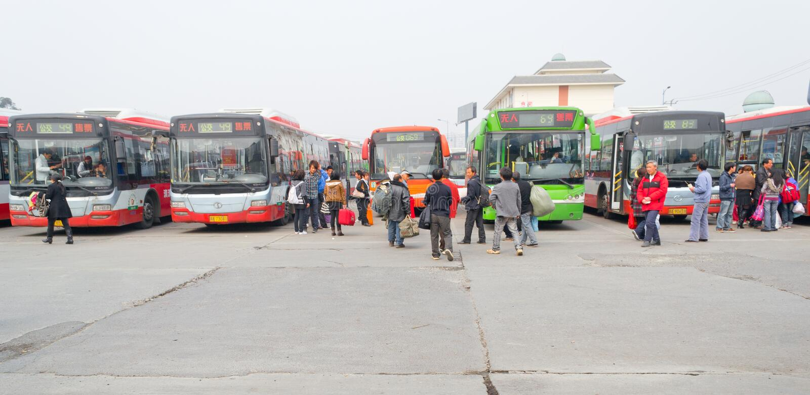 people in bus station