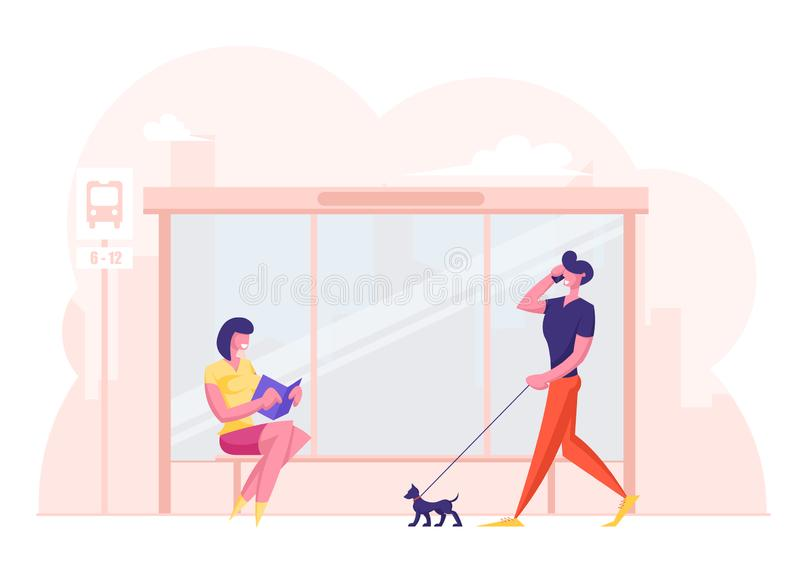 People on Bus Station. Young Woman Sitting on Bench Reading Book while Waiting Commuter. Relaxed Man Pedestrian. Walking with Dog Talking by Smartphone. City royalty free illustration